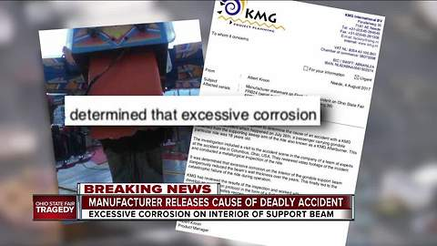 Ride manufacturer says excessive corrosion led to fatal accident at Ohio State Fair