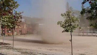 Dust Devil Spins Through Small Spanish Town of Tarrega - Video