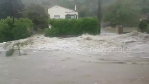 Heavy rain sparks flash floods in the south of France