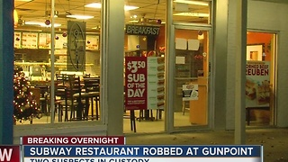 Two men robbed Subway at gunpoint overnight