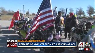 Remains of WWII vet from Kansas City arriving at KCI - Video