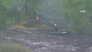 Man rescued from LA river