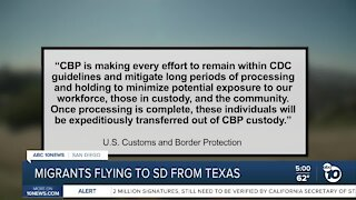 Migrants flying to SD from Texas
