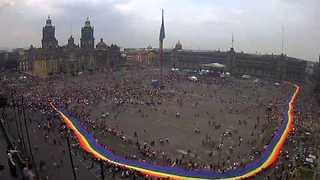 Time Lapse of Huge Rainbow Flag Unfurled in Mexico City Pride - Video