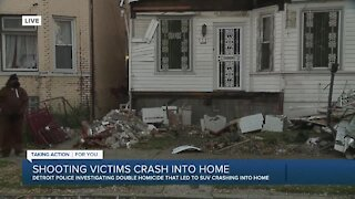 Shooting victims crash into home in Detroit