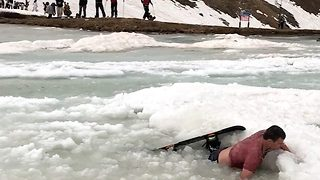 Hilarious footage reveals multiple pond skimming fails