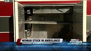 Woman trapped in ambulance compartment after illegally crossing border - Video