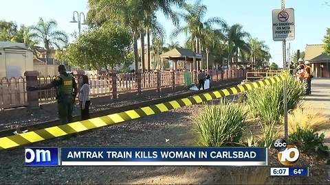 Amtrak train kills woman in Carlsbad