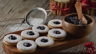 Biscuits with rustic blueberry jam