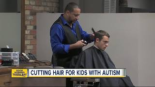 Tampa barber shop offering unique haircut experience to kids with autism - Video