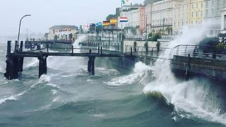 Cobh Harbour Lashed by Wind and Waves as Ex-Hurricane Ophelia Hits - Video