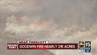Goodwin Fire burns 20,644 acres: 1% contained, towns evacuated - Video