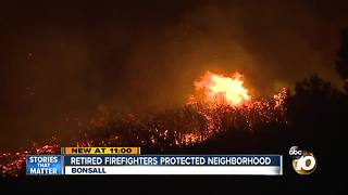 Retired firefighters protected neighborhood from Lilac Fire - Video