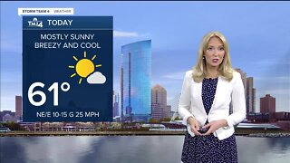 Mostly sunny, cool Saturday with a high of 61