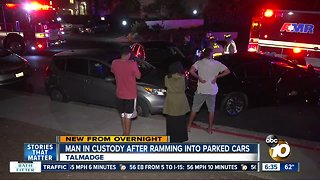 Driver plows into parked vehicles in Talmadge