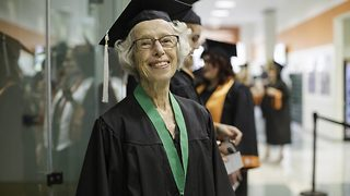 Retired grandmother completes undergraduate degree at the age of 80 and now plans to pursue a master's