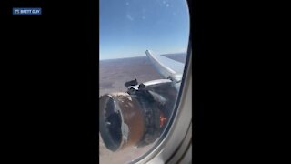 Engine on fire: Video from Denver's flight 328