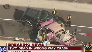 Two dead after wrong-way driver crashes into truck head-on - Video