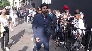Aidan Turner and other celebs arrive for Men's Fashion Week