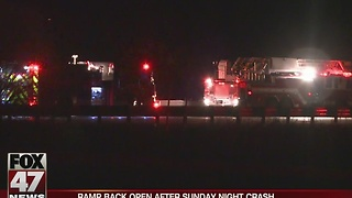 Ramp open after Sunday night crash - Video