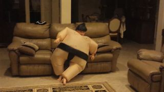 Kid's Sumo Costume Backfires Hilariously - Video