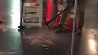 Trump Walk of Fame Star Smashed With Pickaxe - Video