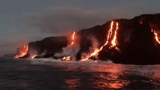 Tourists Flock to See Kilauea Volcano Lava Flow into Ocean - Video