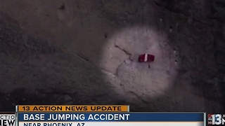 Base jumper recovering after bad jump - Video
