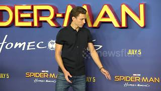 Tom Holland posing for 'Spiderman: Homecoming' photocall - Video