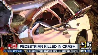 Car veers off roadway, kills pedestrian on sidewalk - Video