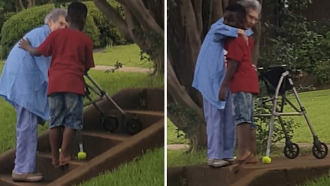 8-Year-Old Pleads With Mom To Help Elderly Woman Up The Steps!