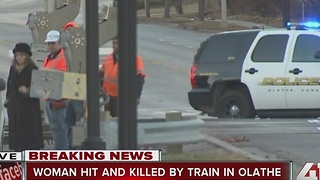 Woman killed in train vs. pedestrian crash - Video