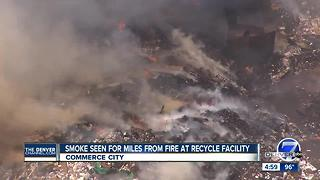 Trash piles at Waste Management facility in Adams County on fire again, smoke seen for miles - Video