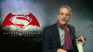 Jeremy Irons talks justice while promoting Batman v Superman - Video