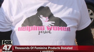 Local group donates thousands of feminine products - Video