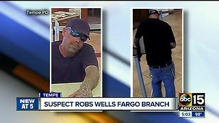 Authorities searching for bank robber in Tempe - Video