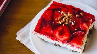 Strawberry Jello Pretzel Salad - Video