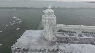 Aerial Footage Shows Ice Over St Joseph's Lighthouse in Michigan - Video