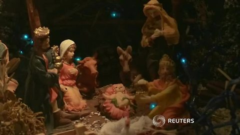 Village in France showcases Christmas nativity scenes
