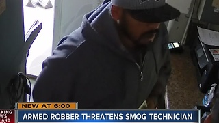 Smog technician robbed at gunpoint caught on camera - Video