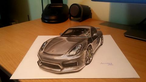 Incredible anamorphic 3D Porsche artwork by Nikola Culjic