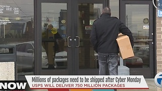 Cyber Monday sales are driving a huge uptick in work at shipping centers - Video