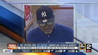 """FBI searching for """"American League Bandit"""" bank robber"""