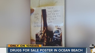 Drugs for sale poster in Ocean Beach - Video