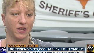 Mesa woman speaks out after allegedly burning boyfriend's Harley motorcycle - Video