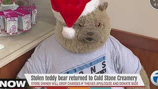 Stolen Teddy Bear returned to Coldstone Creamery in Detroit - Video