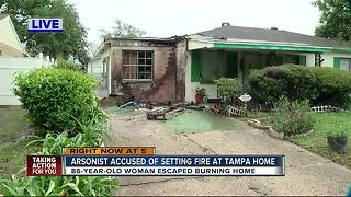 Investigators think someone set fire to home with 86-year-old woman inside