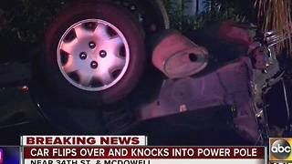 Car crashes into power pole, knocks out power for hundreds of people - Video
