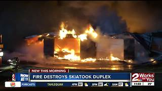 Fire Destroys Skiatook Duplex - Video