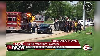 11 children, 2 adults injured in crash involving church van and two other vehicles in Greenfield - Video